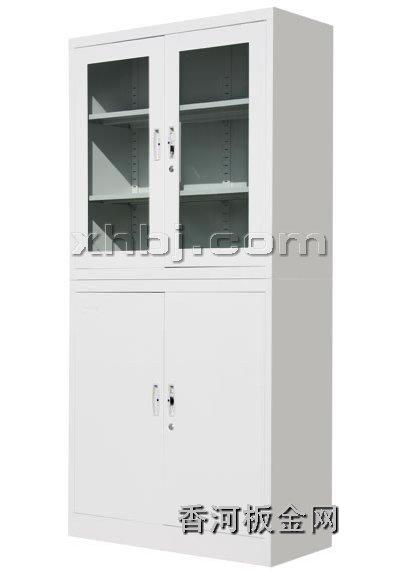 文件柜网提供生产上玻下铁平开书柜(分体)厂家