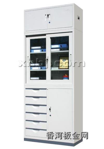 文件柜网提供生产偏六屉移门加顶文件柜厂家